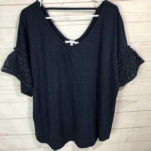 Fever Navy Blue Top w. Eyelet Bell Sleeve 1X